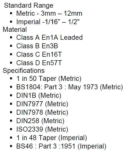 Taper Pins | DIN7977 | DIN7978 | DIN258 | BS1804 | ISO2339 |